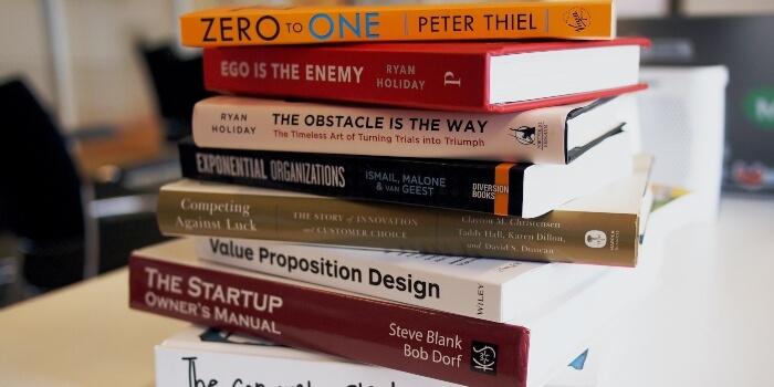 stack of self-help books