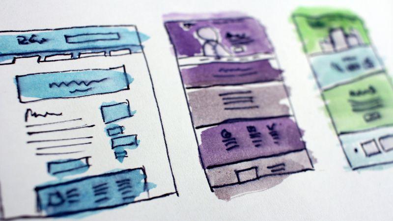 website design sketch with watercolors